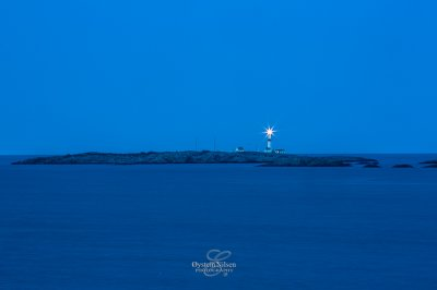 Store Torungen lighthouse seen during blue hour from Ruager at Fevik